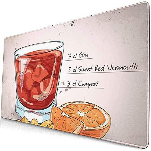 Gaming Extended Mouse Pads mit Rutschfester Gummibasis Negroni Alkoholischer Cocktail bestehend aus Gin Campari Red Vermouth 30X80 cm