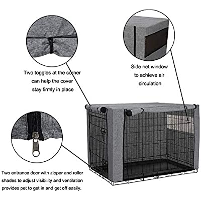 chengsan Dog Crate Cover Durable Windproof Linen Pet Kennel Cover Provided for Wire Crate Indoor Outdoor Protection 48 Inch