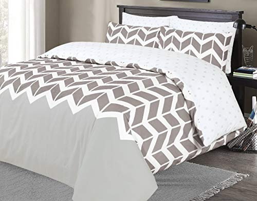 Indus Textiles Duvet Quilt Cover Bed Sets Reversible Patterned Soft and Smooth Easy Care (Chevron Grey & Silver, Double)
