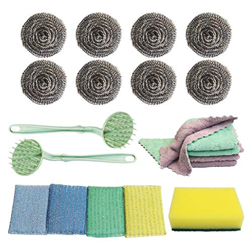 PLAN LIFE 20 Pack Households Cleaning Set Stainless Steel Sponges Scrubber with Handle, Cleaning Cloth Kitchen Rags, Dish Cleaning Sponge for Pan Dishes Stove Pot