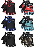 SATINIOR 6 Pairs Kids Cycling Gloves Bicycle Non Slip Half Finger Gloves for Summer Outdoor Sport...