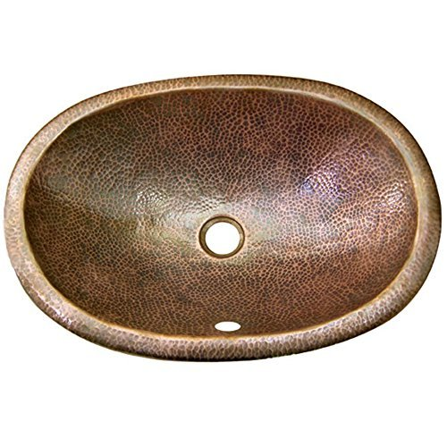 Houzer HW-ELI1ES Hammerwerks 6-Inch Deep Self Rimming Lavatory Sink with Overflow, Antique Copper by HOUZER