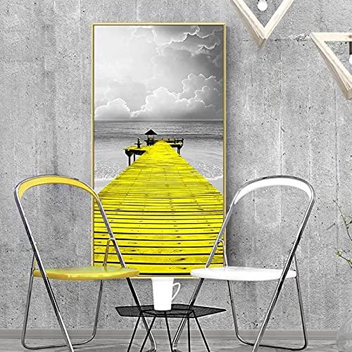 Póster nórdico de la lona de la vendimia de la pintura de la lona del paisaje marino del salón de la torre del blanco y negro carteles e impresiones del puente cartel -50x100cm sin marco