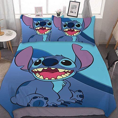 NBAOBAO Lilo & Stitch - Juego de ropa de cama de Lilo & Stitch, funda nórdica de animación, regalo para niños, 2 fundas de almohada de 80 x 80 cm (Stitch-2, 135 x 200 cm + 50 x 75 cm x 2)