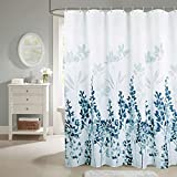 Anmon Waterproof Shower Curtain, Polyester Bathroom Curtain Watercolor Floral Plant Pattern Decorative Curtain with 12 Hooks, Standard Size 72 x 72 Inch