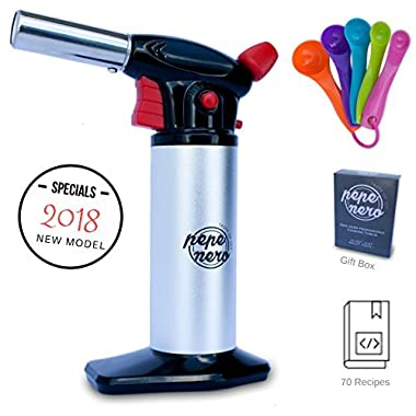 Cooking Torch Set For Creme Brulee By Pepe Nero: Culinary Torch - Kitchen Torch - Refillable Aluminum Blow Professional Butane Adjustable for Baking BBQ Chef - Gifts: Whisk & Measuring Spoons & Ebooks
