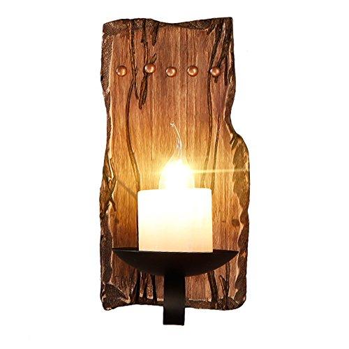 Gweat Vintage Industrie Wandleuchten Loft Holz Retro für Restaurant, Gang, Korridor, Eingang, Bar, Cafe, Schlafzimmer Nachttisch Wandlampe Glasschirm (Farbe : A)