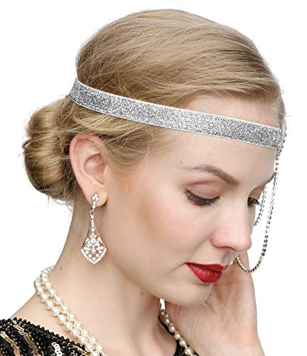 Silver 20s Headpiece Vintage 1920s Headband Flapper Great Gatsby 20s accessories (White)