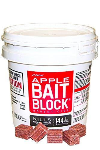 JT Eaton 709-AP Bait Block Rodenticide Anticoagulant Bait, Apple Flavor, for Mice and Rats (Pail of 144)
