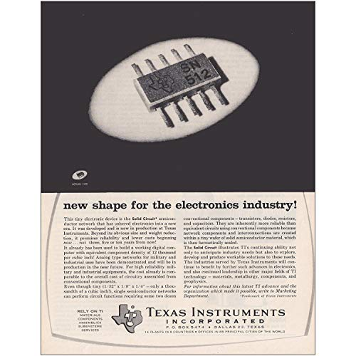 RelicPaper 1962 Texas Instruments: New Shape for The Electronics, Texas Instruments Print Ad