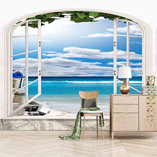 Msrahves papiers peints panoramiques Bleu ciel nuages plage Décoration Murale XXL Poster Tableaux Muraux Photo Trompe l'oeil Panorama Effet Salon Appartement Photo d'art