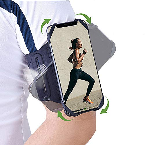 Phone Armband 360°Rotatable Running Phone Holder for iPhone Samsung & 4.5-7 Inches Mobile Phones with Adjustable Elastic Band Key Holder Phone Earphone Armband for Walking Running Cycling