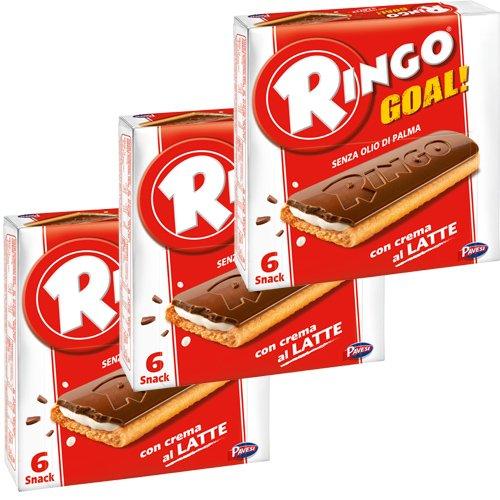 3x Pavesi Ringo Kekse con crema al Latte 'Goal', 165 g