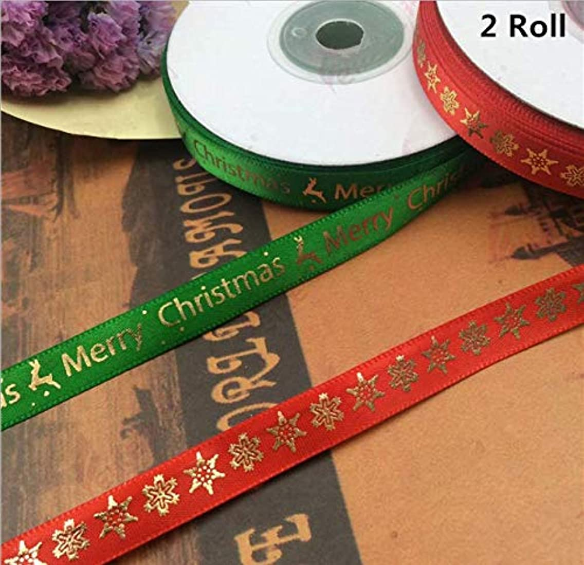 2 Rolls 44 Meters Christmas Ribbon, Carnatory Printed Merry Christmas Ribbons Gift Wrap Glitter Ribbon for Christmas Decorations, Gift Wrapping, Craft Sewing or Wedding Decorations