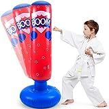 LEOHOME Saco de boxeo de pie para niños, bolsas de boxeo para niños, bolsas de boxeo para boxeo, ideal para grappling, MMA, Kickboxing, Muay Thai, Karate, color rojo, tamaño 4.1ft/125cm