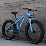 GASLIKE Bicicletas de montaña, Fat Tire Hardtail Marco de Acero de Alto Carbono Bicicleta de montaña, Horquilla con suspensión elástica Bicicleta de montaña, Freno de Doble Disco,C,26inch 7 Speed