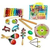 Instrumentos musicales para niños, 14 piezas, juego de percusión de madera para niños pequeños y bebés, juguetes musicales para niños, instrumentos de percusión xilófono con bolsa de transporte