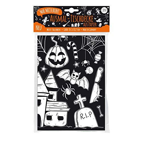 JEKA Papier-Tischdecke zum Ausmalen, Halloween Tischdecke, Fasching Tischdecke, Halloween Dekoration Kinder, Grusel Dekoration, Mal Mich Bunt