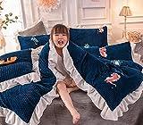 Ropa de Cama Juego de Cuatro Piezas Sábanas Funda de Almohada Funda de edredón Niñas Dormitorio Infantil Padres Textiles para el hogar Niño Dibujos Animados Estampado Animal Lindo y cálido 150 * 200