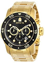 Gold tone stainless steel case 48mm diameter x 12.5mm thick; Black dial; Luminous hands and hour markers Japanese quartz movement, VD53 Caliber; Assembled in Japan; SR920SW battery included; Watch weight: 310 grams Gold tone stainless steel band, 215...