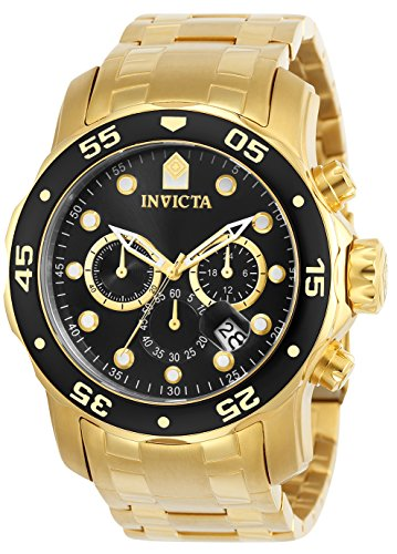 Invicta Men's Pro Diver Scuba 48mm Gold Tone Stainless Steel Chronograph Quartz...