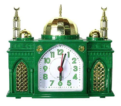Moschee-Form Wecker - Batteriewecker Moschee - Spielt islamischen Gebetsruf, wenn der Alarm ertönt (Grün)