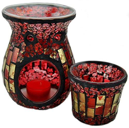 Davartis - Duftlampe Mosaik rot/gold inkl. Teelichthalter / Windlicht