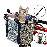MattiSam Bicycle Basket, Quick Release Folding Bike Basket, Front Handlebar Bag, Pet Cat