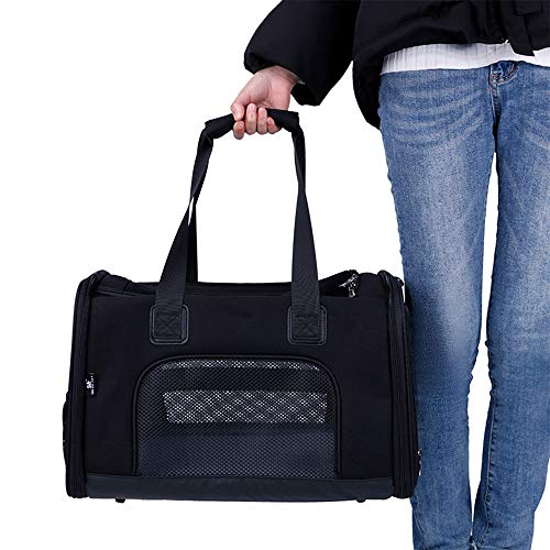 ASUNXL Pet Carrier Cat Carriers Dog Carrier, Airline Approved Pet Travel Bag, Collapsible Soft-Sided Dog Kennel, Mesh Window and Escape-Proof Buckle, Best for Small Medium Cats Dogs,Black,L