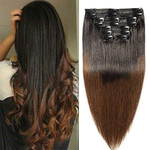 Extension Capelli Veri Clip Shatush Double Weft 8 Fasce Remy Human Hair XXL Full Head Set Lisci Lunga 45cm Pesa 150g, 1B Nero Naturale ombre #4 Marrone Cioccolato