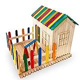 Sunshine smile Holzeisstiele zum Basteln,300 Stück Farbe Holzstäbchen,Holzstiele,Eisstiele aus Holz, Holzspatel Stiele,Popsicle Sticks,Craft Sticks,Holzstäbe - 5