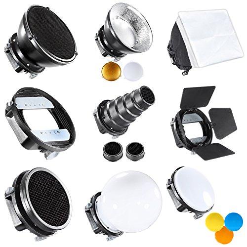 Neewer Pro Kit de Accesorios para Flash Speedlite Incluye Visera,Snoot Cónico, Mini Reflector, Esfera Difusor, Beaty Disc, 20x30cm Caja de luz, Honeycomb, Filtros de Colores, Adaptador
