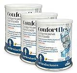 Confortflex® colágeno polvo Hidrolizado con Magnesio, glucosamina, MSM, silicio, Vitamina C, zinc, Ácido Hialurónico, vit. B-3, vit. B-5, vit. B-6 y cúrcuma – 390 gramos, 30 días. (Pack 3 unid.)