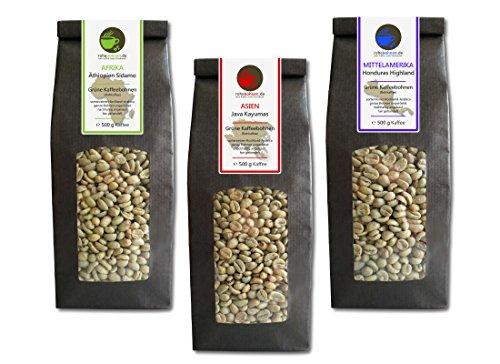 Rohkaffee - Grüner Kaffee Äthiopien, Java, Bio Honduras (grüne Kaffeebohnen Sparpack 3x500g)