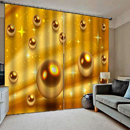 HomeAZWQ Cortinas Opacas para Ventana Salon Cocina, Decoracion De Interiores Balón De Oro H250 X W320Cm