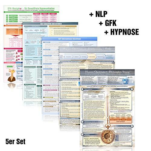 [5er-Set] Das NLP & GFK & Hypnose Lern- und Wissenskartenset (2020): - GFK Navigator für Gewaltfreie Kommunikation + NLP Coaching + 33 NLP ... und Techniken (DINA4, laminiert)
