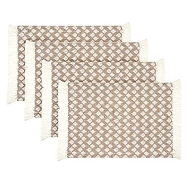 Sticky Toffee Cotton Woven Placemat Set with Fringe, Scalloped Diamond, 4 Pack, Tan, 14 in x 19 in