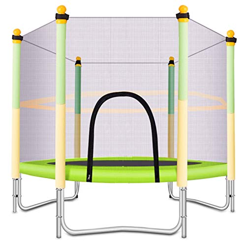 BANIROMAY 5 FT Kids Trampoline with Safety Enclosure Net, Indoor Outdoor Toddlers Trampolines, Mini Trampoline Gift for Boys Girls (Yellow)