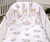 5 Piezas Juego de Cama para bebé Protector Edredón Ropa de Cama para Cuna 140 x 70 cm Deers Corzos Blancos Bambi en el Prado