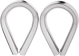 Flameer 2 Piece Marine Stainless Steel Wire Rope Thimbles For 2mm - 12mm Wire - Silver, 12mm