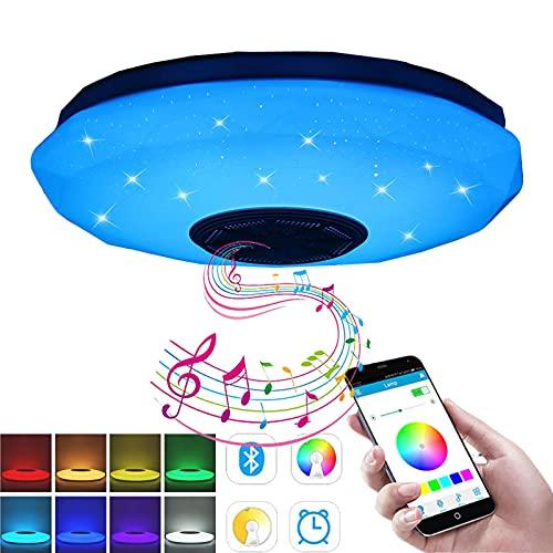 Lámpara de techo led,Con Altavoz Bluetooth 36W música para dormitorio,con aplicación a...
