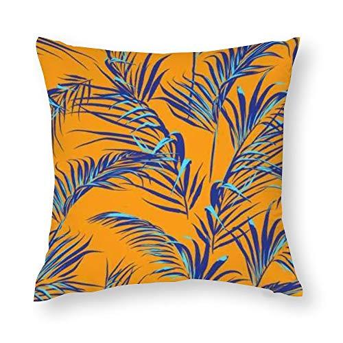YY-one Fundas de almohada decorativas con diseño de hojas de palmera tropicales sin costuras, funda de cojín de algodón para sofá, silla, cuadrado, 50 x 50 cm