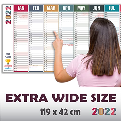 2022 Wall Planner Extra Wide Size (119cm x 42 cm) | Full Year Wall-Planner Runs Jan' 22 to Dec' 22 | Excellent for office, home and school. | Non Laminated.