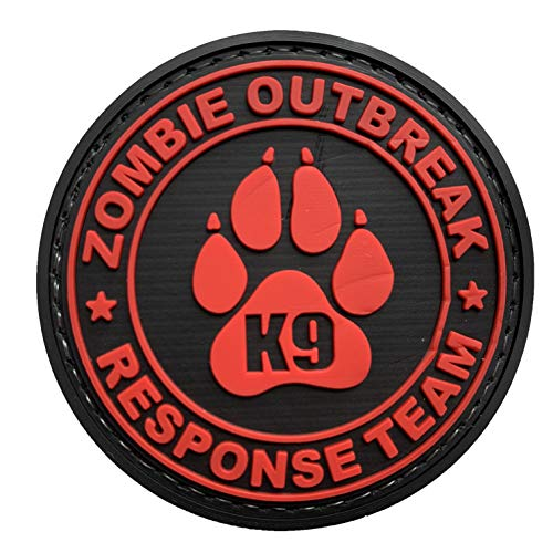 Zombie Outbreak Response Team K9 Paw Canine Unit Tactical PVC Patch Combat Badge with Hook Fastener Backing (Allred)