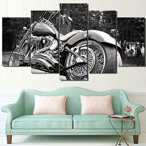 37Tdfc Impresión en Lienzo 5 Piezas Lienzo XXL Moto Moto Blanco Y Negro Wall Art Canvas 5 lienzos Moderno para Salon decoración del hogar Cuadro de Lienzo Marco listos para Colgar Impresión HD Imagen