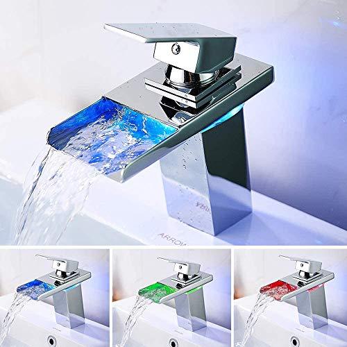 Grifo de Cascada LED,Grifo de Lavabo de Cascada de Baño LED con Cambio de color RGB 3,Grifos Mezcladores de Lavabo de Lavabo Moderno Contemporáneo de una Manija para Baño