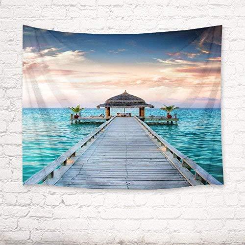 Ocean Tapestry puente de madera y gazebo cuelgan sobre la pared de agua del oc¨¦ano tapices de vacaciones de verano para dormitorio sala de estar decoraci¨n de fiesta de dormitorio 150cm x 200 cm