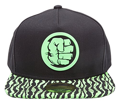 Meroncourt Marvel Comics Incredible Hulk Fist Smash Rubber Patch Snapback Baseball Cap with Animal Print Brim, One Size, Black/Green (Sb130404Mar) Cas