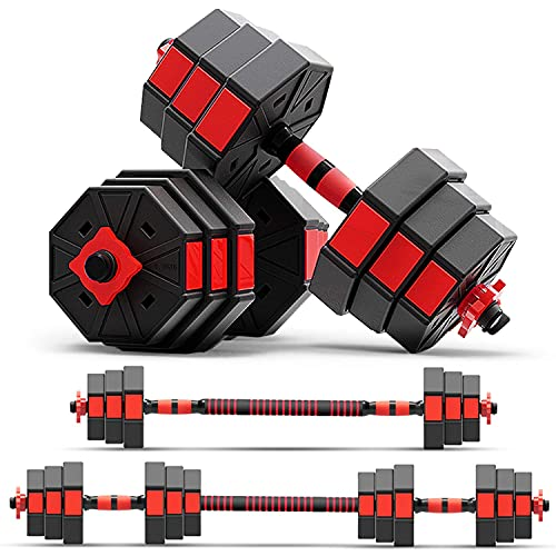 zybeauty Adjustable Dumbbells, 44Lbs (20kgs) Weight Set, Anti-Rolling Octagonal Dumbbells to Barbells with Connecting Rod, 3-in-1 Home Gym Equipment for Men and Women Workout Exercise Training