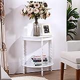 AZWE Gummi Holz Wasserdicht Beistelltisch, Halbrunde Sofa Tisch Schlafzimmer Nachttisch Wohnzimmer Couchtisch Retro-Telefontisch,B,L60Xw30Xh69Cm